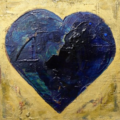 Heart Art LoveHug Gold and Blue 3