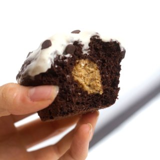 vegan cookie dough stuffed chocolate cupcake for one | love me, feed me