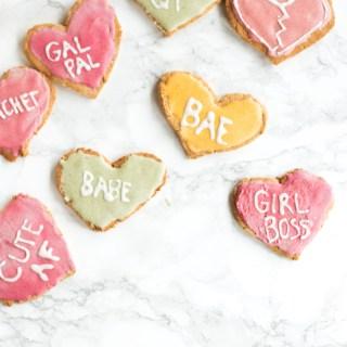 vegan conversation heart cookies (gluten-free) | love me, feed me