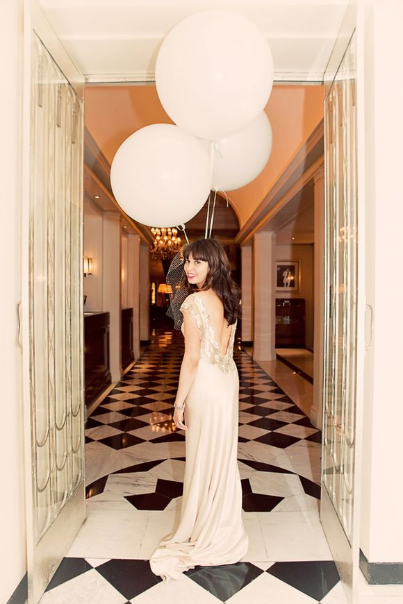 Wedding Day Balloons and a Beautiful, Backless Wedding Dress for a City Chic Affair at Claridges…