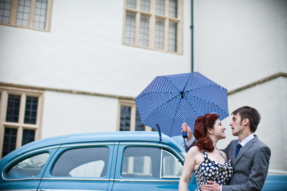 Polka Dot Blue Wedding Dress and a Baby Blue 1948 Buick…