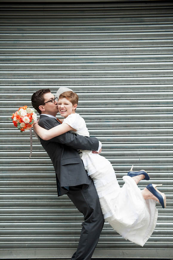 Orange, Peach, Gold, Blue and a Tiered Rachel Gilbert Gown for an East London Wedding