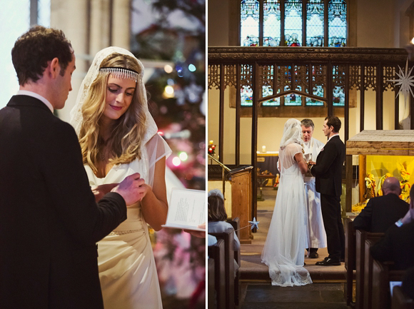A Hooded Cape Veil and Cymbeline Dress for a Vintage Inspired Winter Wedding (Weddings )