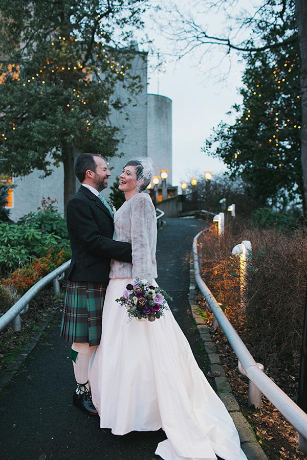 An Alan Hannah Wedding Dress and Pretty Birdcage Veil for a House For An Art Lover Wedding