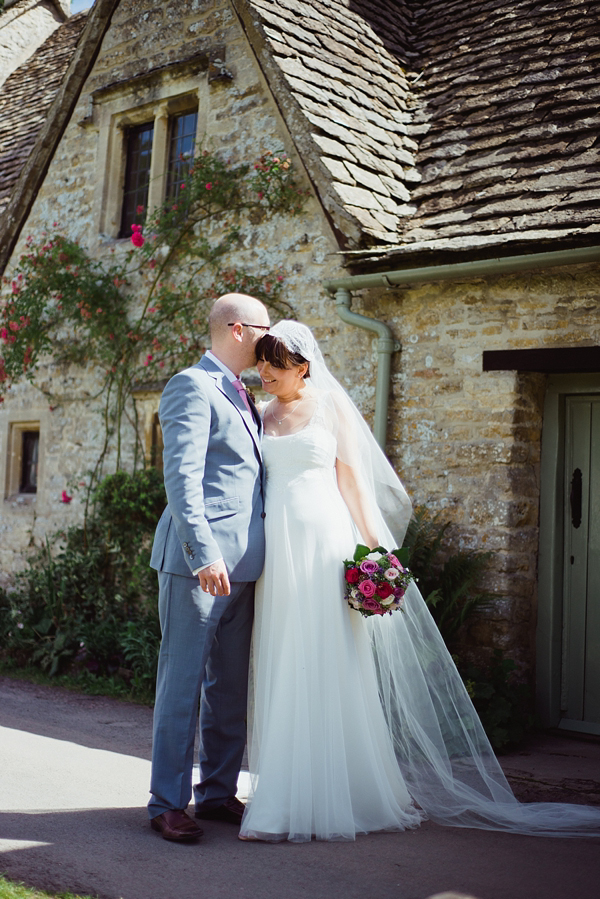A Juliet Cap Veil and Raimon Bundo Gown For An Elegant English Country Barn Wedding