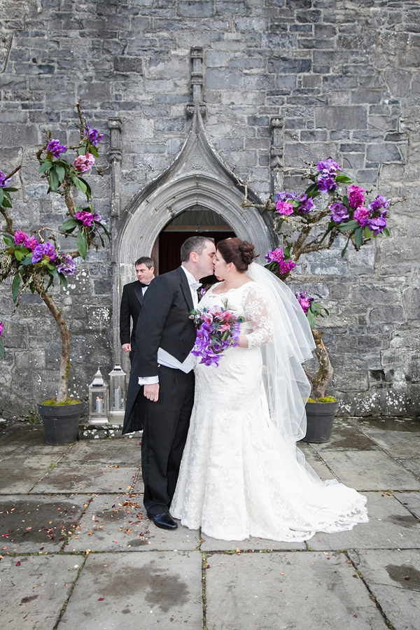 Suzanne Neville Couture for a Glamorous Winter Wedding in an Ancient Irish Abbey