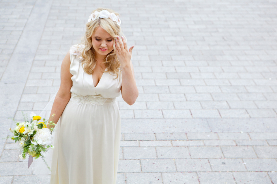 An Eco Chic Wedding Dress for a Pretty Yellow Spring Time Wedding