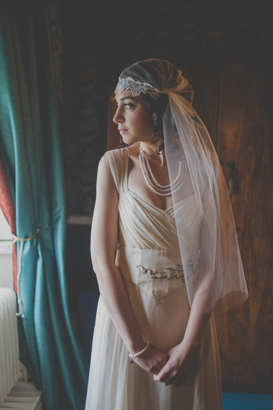 A Charlotte Casadéjus Gown and Juliet Cap Veil For A 1930s Inspired Winter Wedding