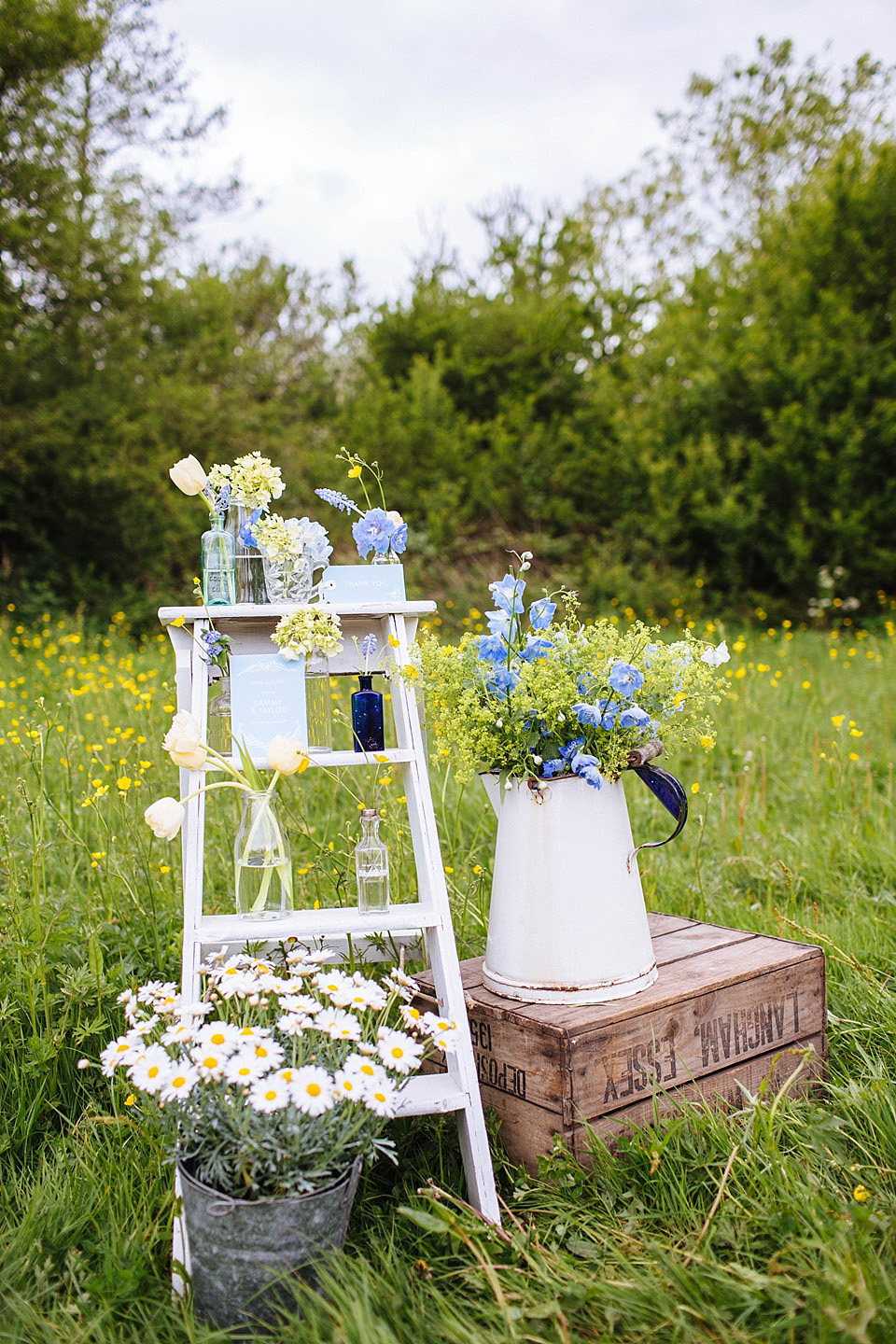 Late Spring/Early Summer Rustic Outdoor Wedding Inspiration in Shades of Yellow and Blue