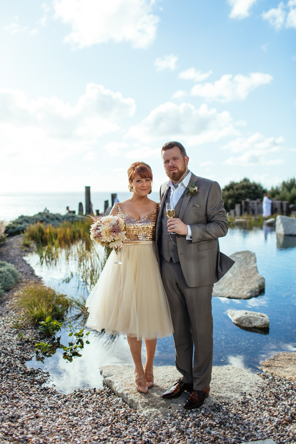 An Incredible Sequinned Vintage Dress for an Intimate Cornish Beach Wedding
