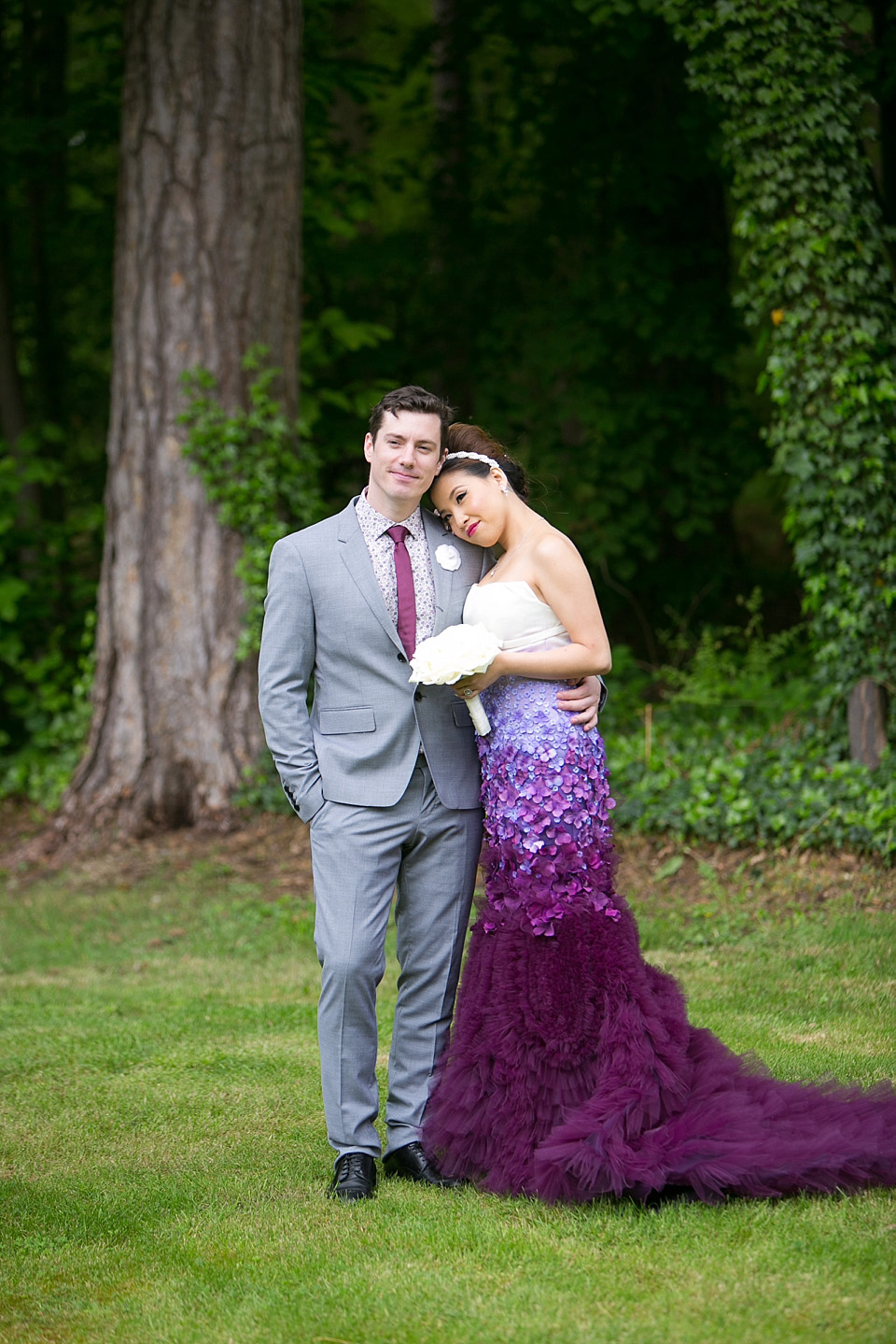 purple ombre floral wedding dress ombre wedding dress A Purple Ombre and Floral Wedding Dress Weddings