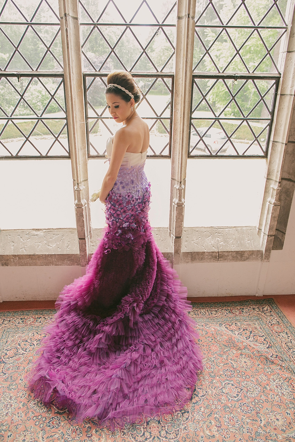 A Purple Ombre and Floral Wedding Dress
