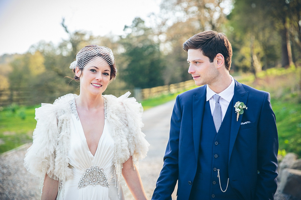 Jenny Packham and Ostrich Feather Glamour for a Gatsby Inspired Afternoon Tea Wedding