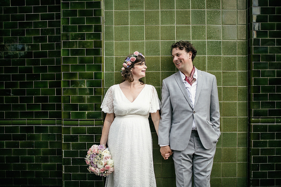 A Pretty Eco Friendly Wedding Dress for a Pregnant Bride and her Laid Back Hackney Wedding