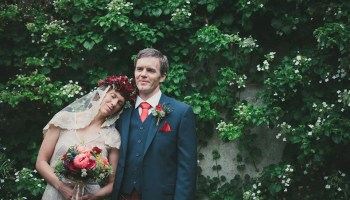 A Rose Gold Dress Wedding Dress and Colourful Floral Crown for a Humanist Elopement in Scotland