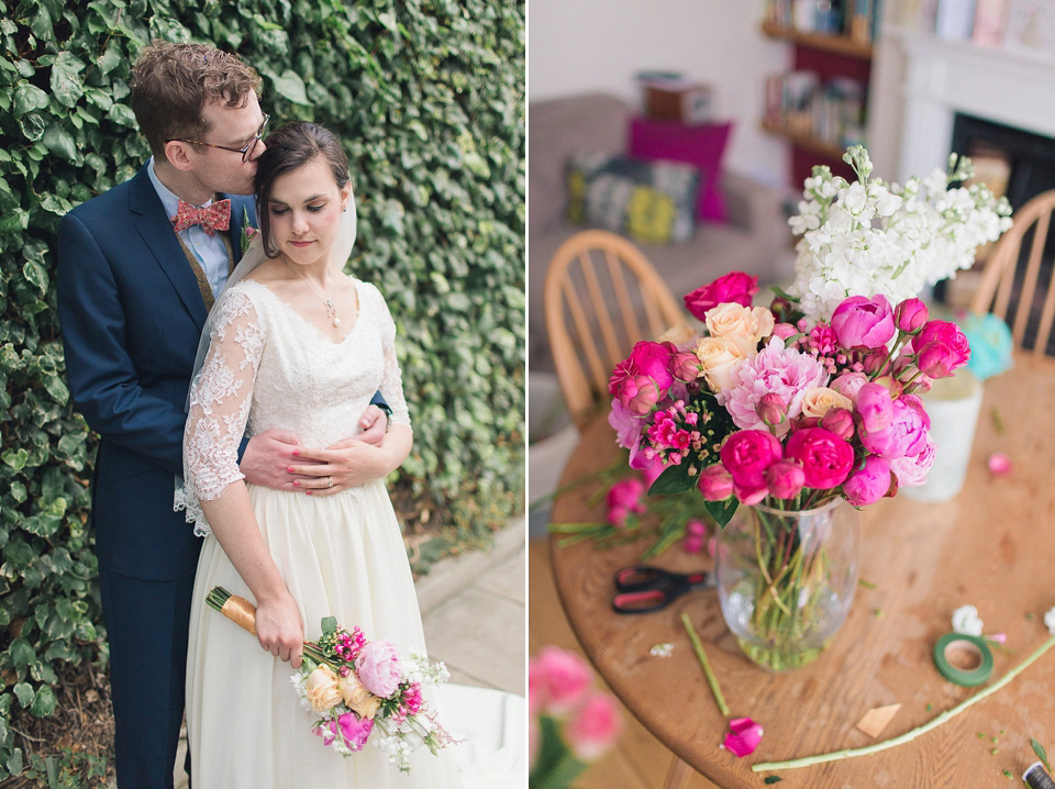 A 1940s Vintage Gown, Bow Ties and Pink Peonies for a Town and Country Inspired Wedding (Weddings )