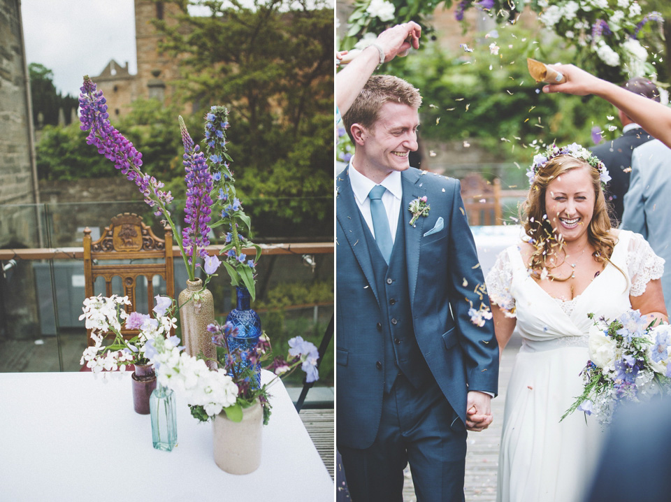 An Outdoor Humanist Ceremony for a Wildflower Wedding in Shades of Blue and Grey