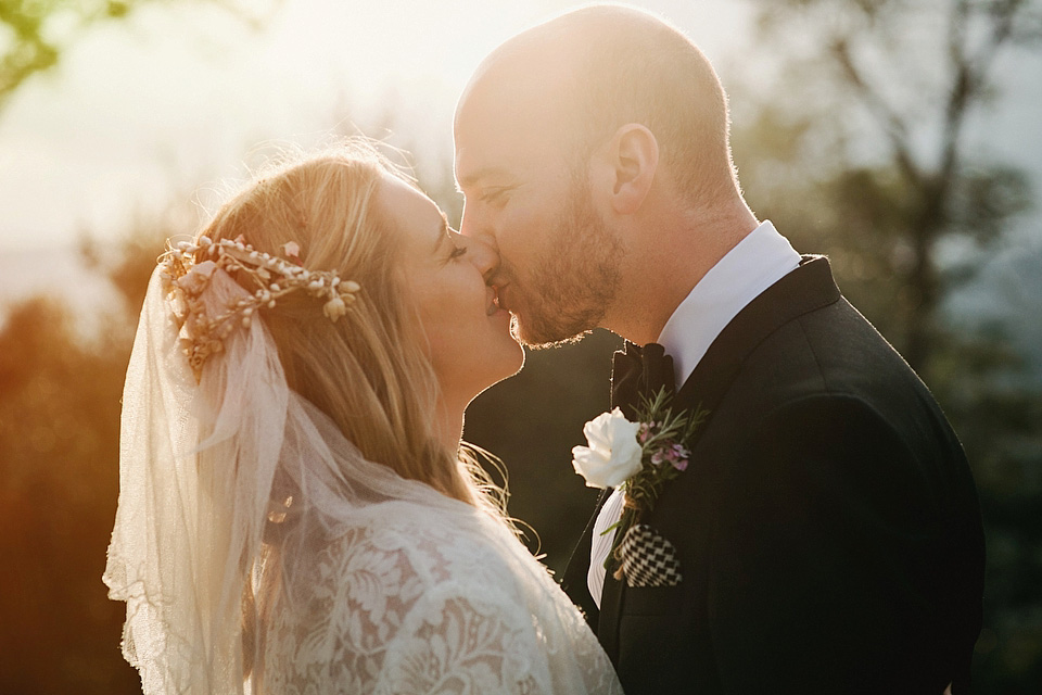 A Relaxed and Rustic Italian Wedding with a Temperley London Dress and Wax Flower Headpiece