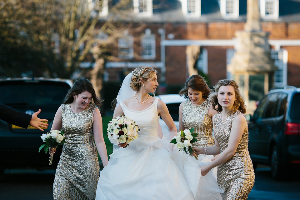 A Glamorous Winter Wedding With an Alan Hannah Gown and Bridesmaids in Gold Sequins