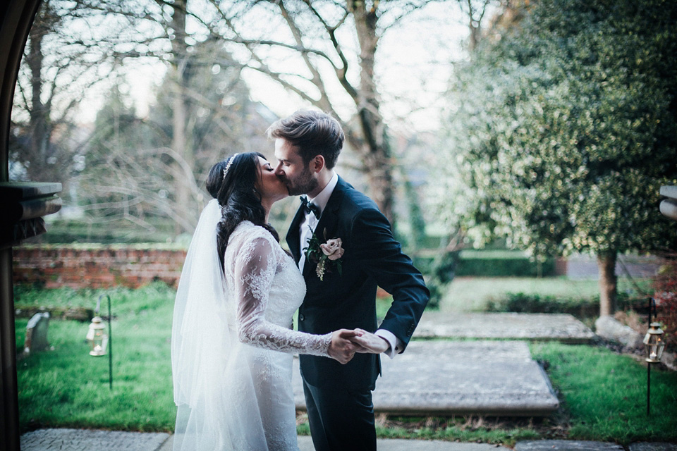 A Suzanne Neville Gown for a Glamorous Black Tie Winter Wedding