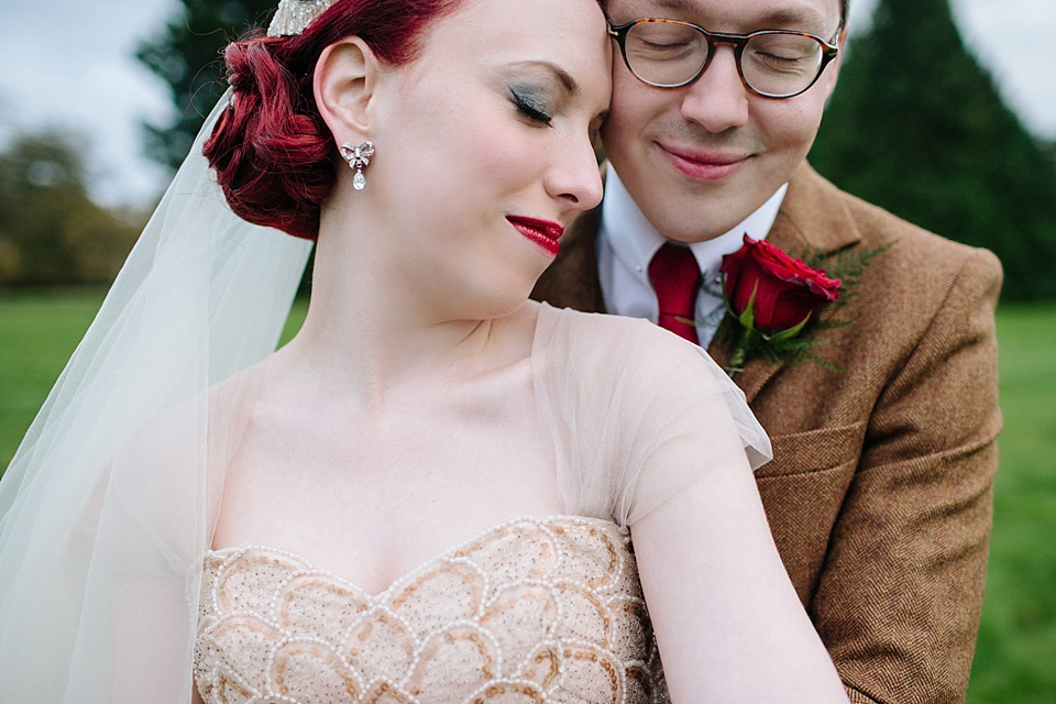 A Gold Tulle Gown for a 40s and 50s Vintage Inspired Wedding