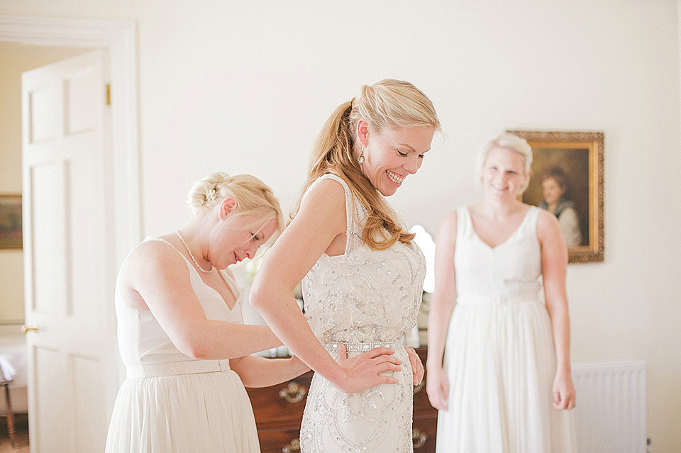 Jenny Packham Esme and Bridesmaids in White for a Spring Wedding in Cornwall (Weddings )