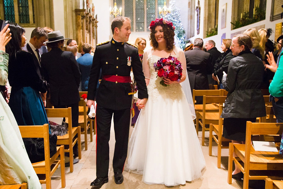 A Bride in Stephanie Allin for her Military Winter Wedding at the Tower of London