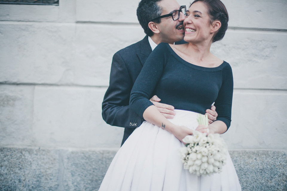 Black and White Bridal Separates for an Elegant Italian Bride
