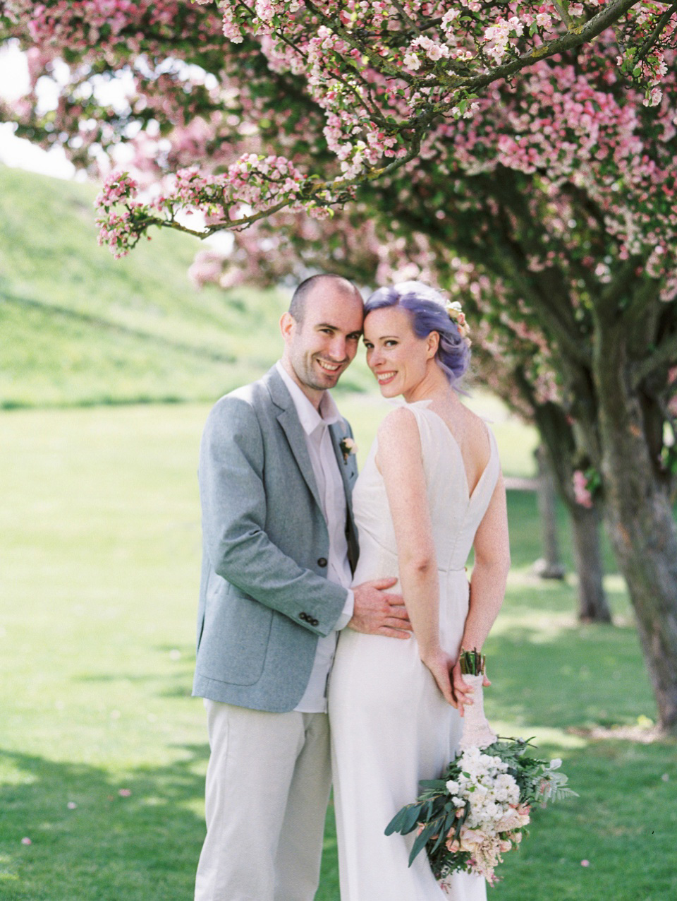 Lilac Hair and Pastel Flowers for an Intimate Springtime Pub Wedding (Weddings )