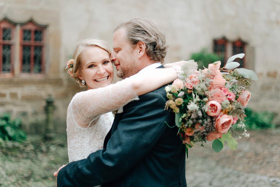 Anna Kara Lace and Peach Pretty For An Elegant Castle Wedding