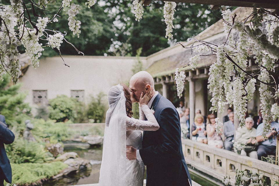 Pronovias Lace and a Juliet Cap Veil for a Japanese and 1930's Vintage Inspired Wedding