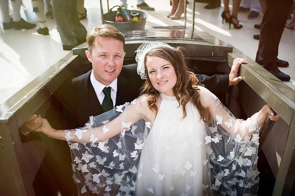 A Kaviar Gauche Butterfly Gown for a Boat Wedding in Amsterdam