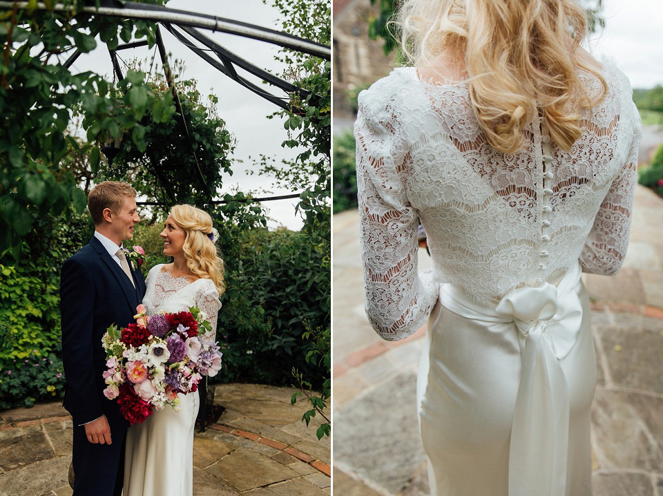A Charlie Brear Gown for a Colourful, Flower Filled Barn Wedding (Weddings )
