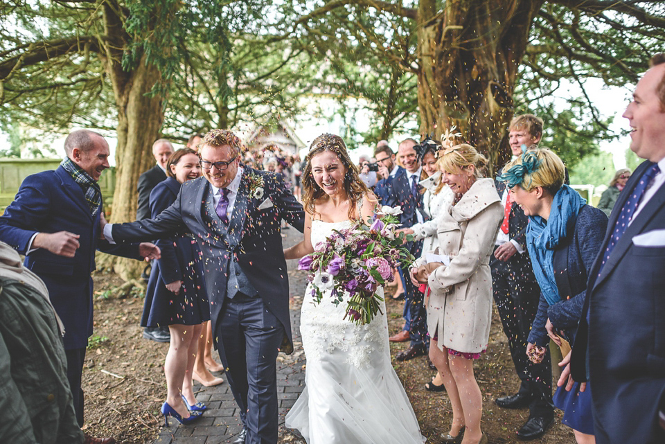 A Claire Pettibone Gown and Vintage Tiara for a Colourful, Homespun Humanist Wedding