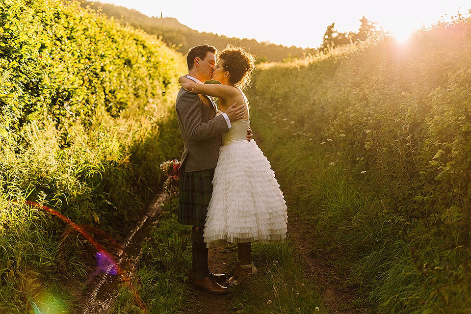 A Tiered Wedding Dress for a Colourful and Quirky Outdoor Humanist Ceremony