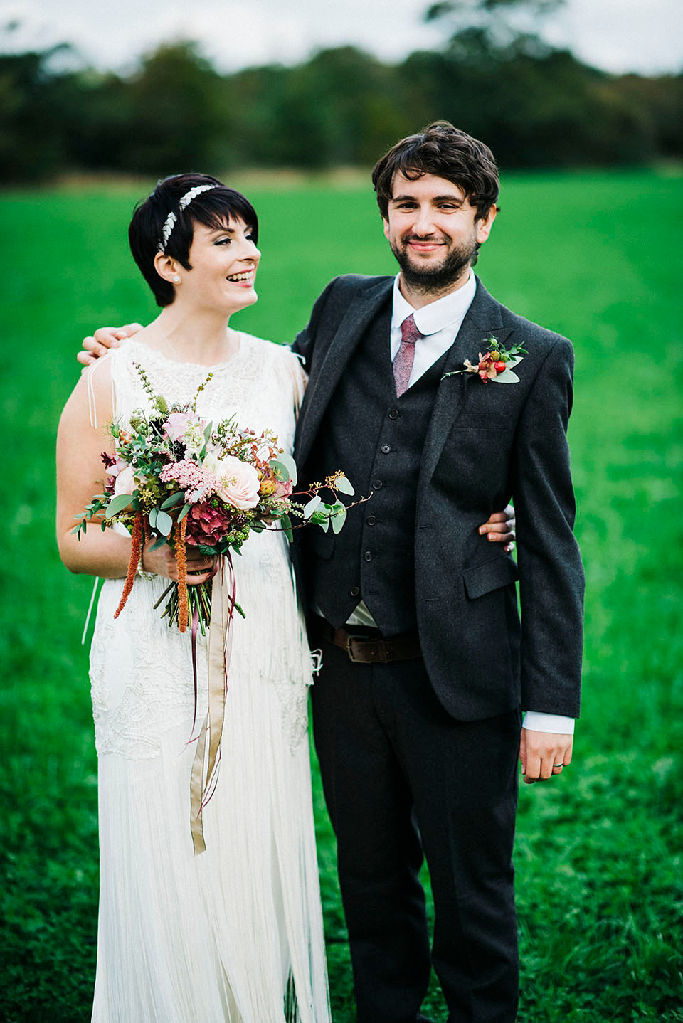 A 1920's Inspired Phase Eight Tasseled Dress For a Flower-Filled Autumn Wedding