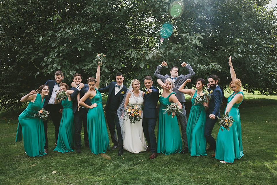A Wes Anderson Inspired Barn Wedding with Maids in Emerald Green