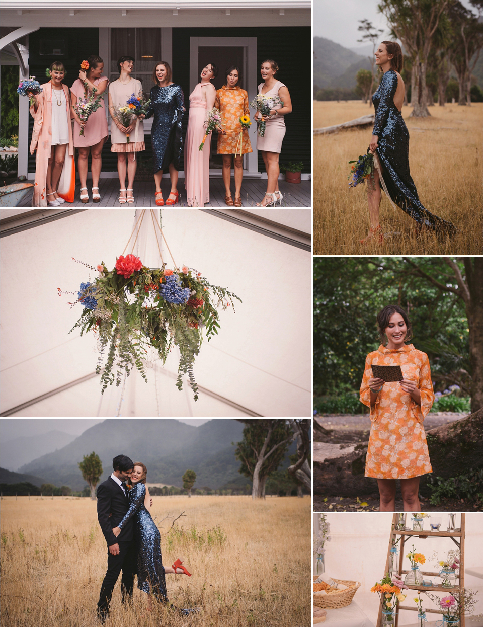 A Blue Sequin Dress for a Laid Back and Colourful Picnic Wedding (Weddings )