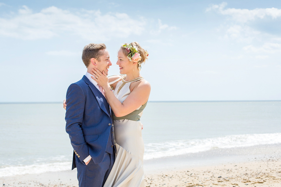 A Halterneck Dress for a Yoga Teacher Bride, Her Cinema Wedding and Seaside Picnic Celebration