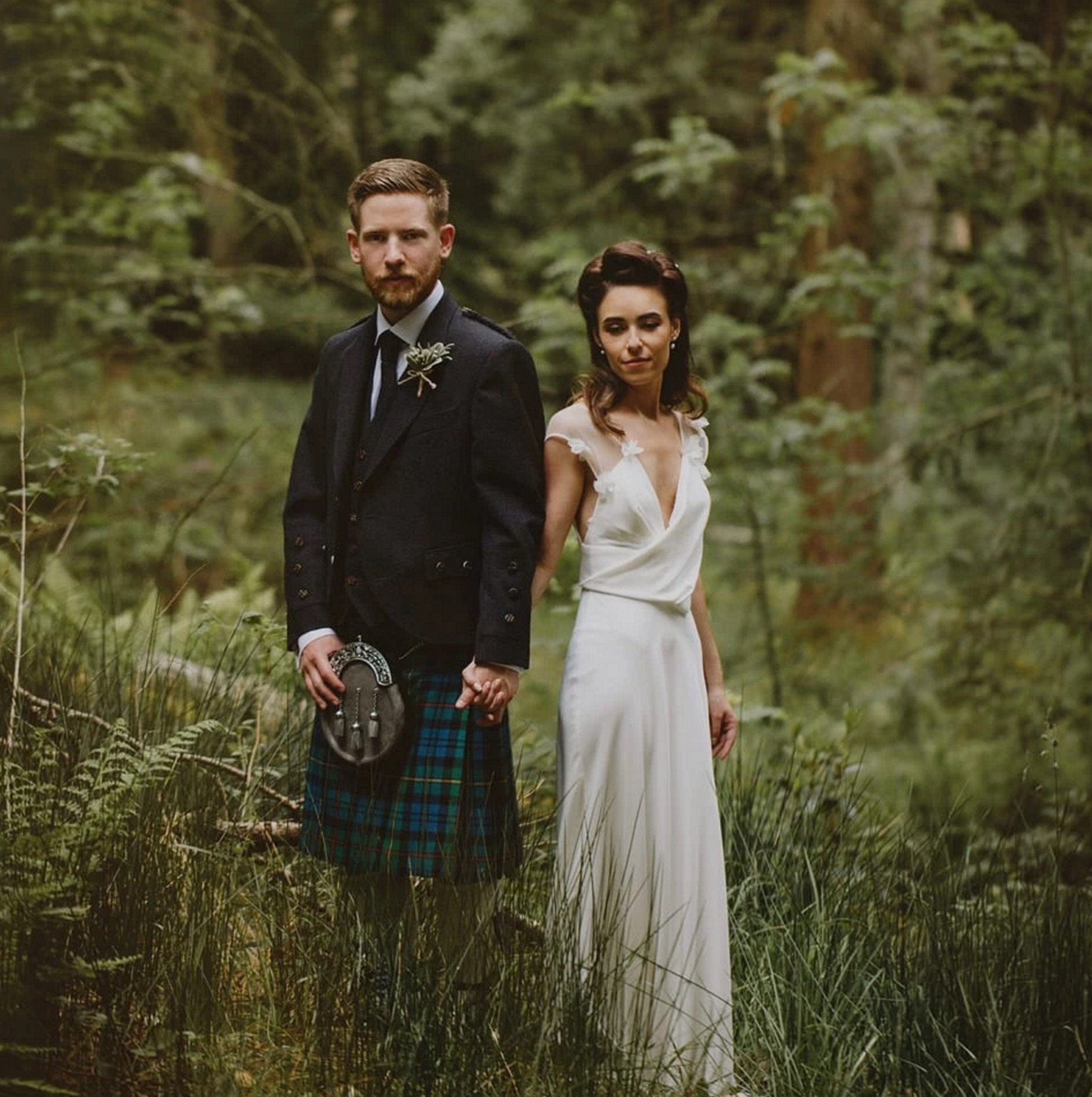 A David Fielden Gown For A Relaxed and Nature Inspired Scottish Highlands Wedding