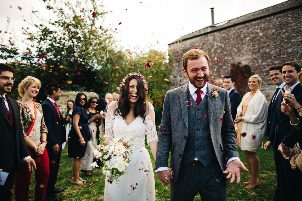 A Dana Bolton Gown for a Rustic, Homespun, Autumn Barn Wedding near Dorchester