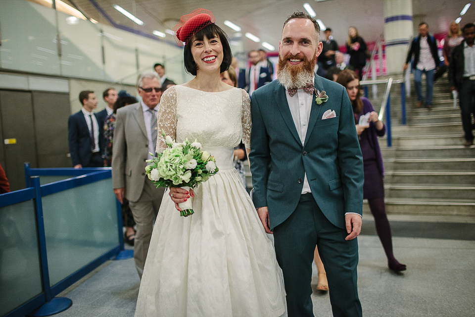 A Red Pillbox Hat and Swedish Hasbeens for an Intimate London Cafe Wedding (Weddings )