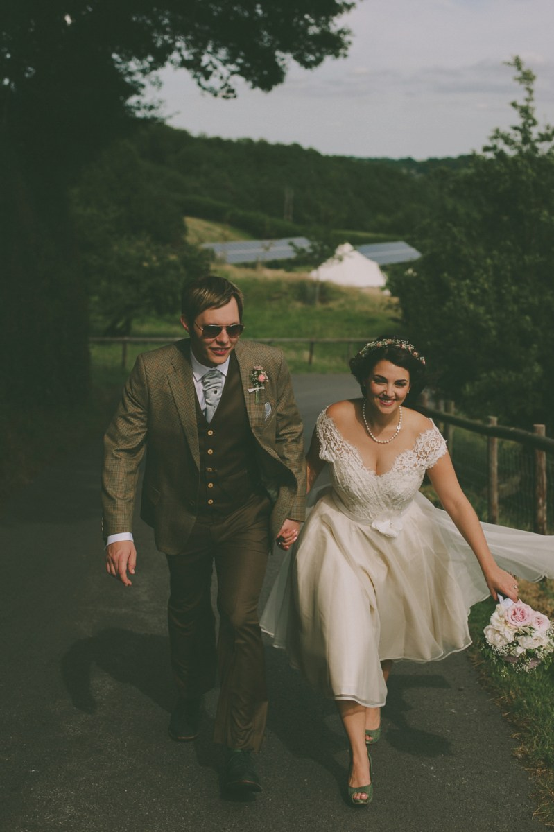 Green Shoes and a 50's Inspired Dress for a Vintage Wedding In The Cotswolds