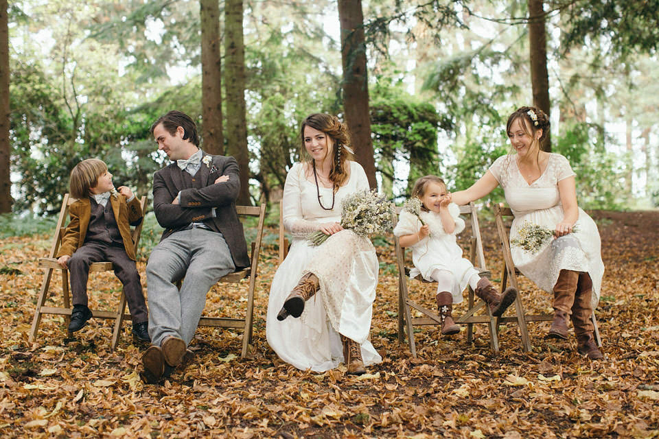 A Tweed Jacket and Feathers in Her Hair for a Boho Bride and her Eclectic Woodland Wedding (Weddings )