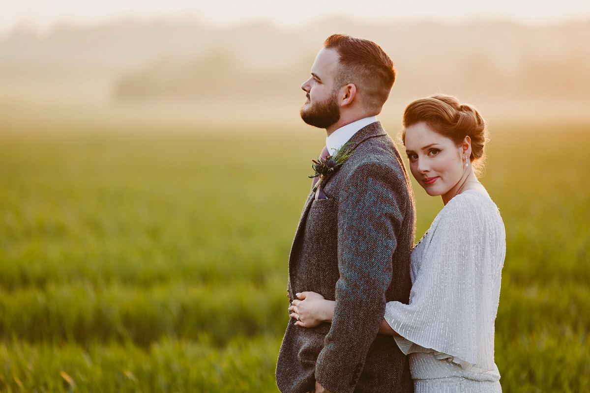 An Eliza Jane Howell Gown for a Downton Abbey and Vintage Glamour inspired Countryside Wedding (Weddings )