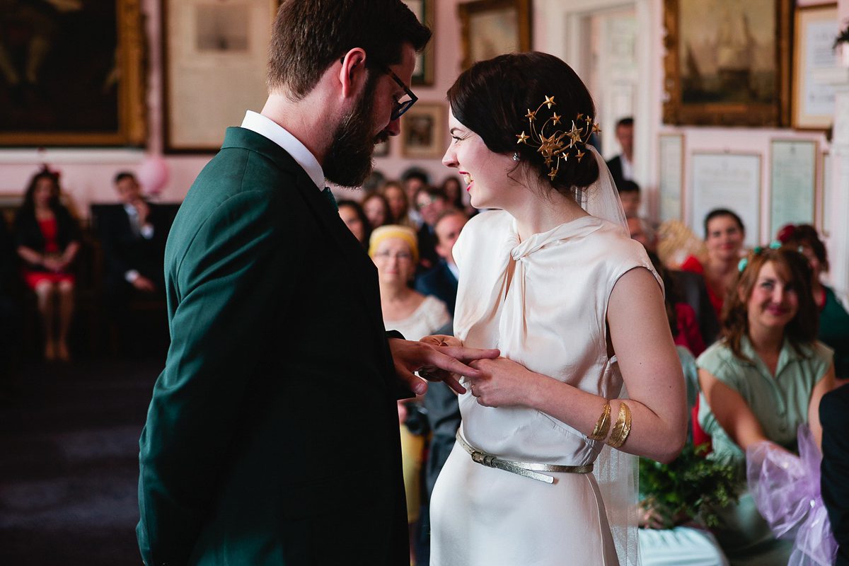 A Ghost Gown and Starry Headpiece for a 1930's Inspired Mint Green Wedding in the Spring
