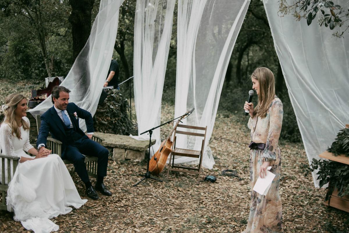 backless dress rustic outdoor woodland wedding spain woodland wedding dress Backless Gown for a Woodland Wedding in Spain Weddings