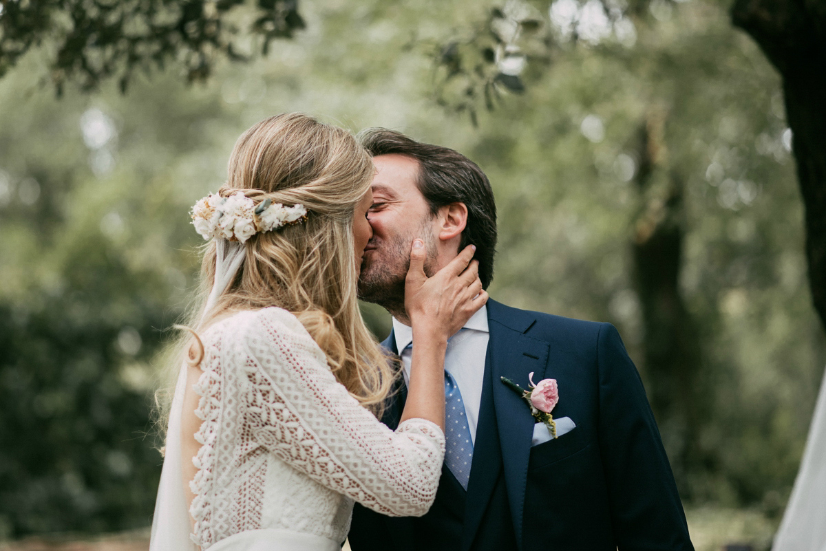 A Bohemian, Backless Gown for a Woodland Wedding in Spain (Weddings )