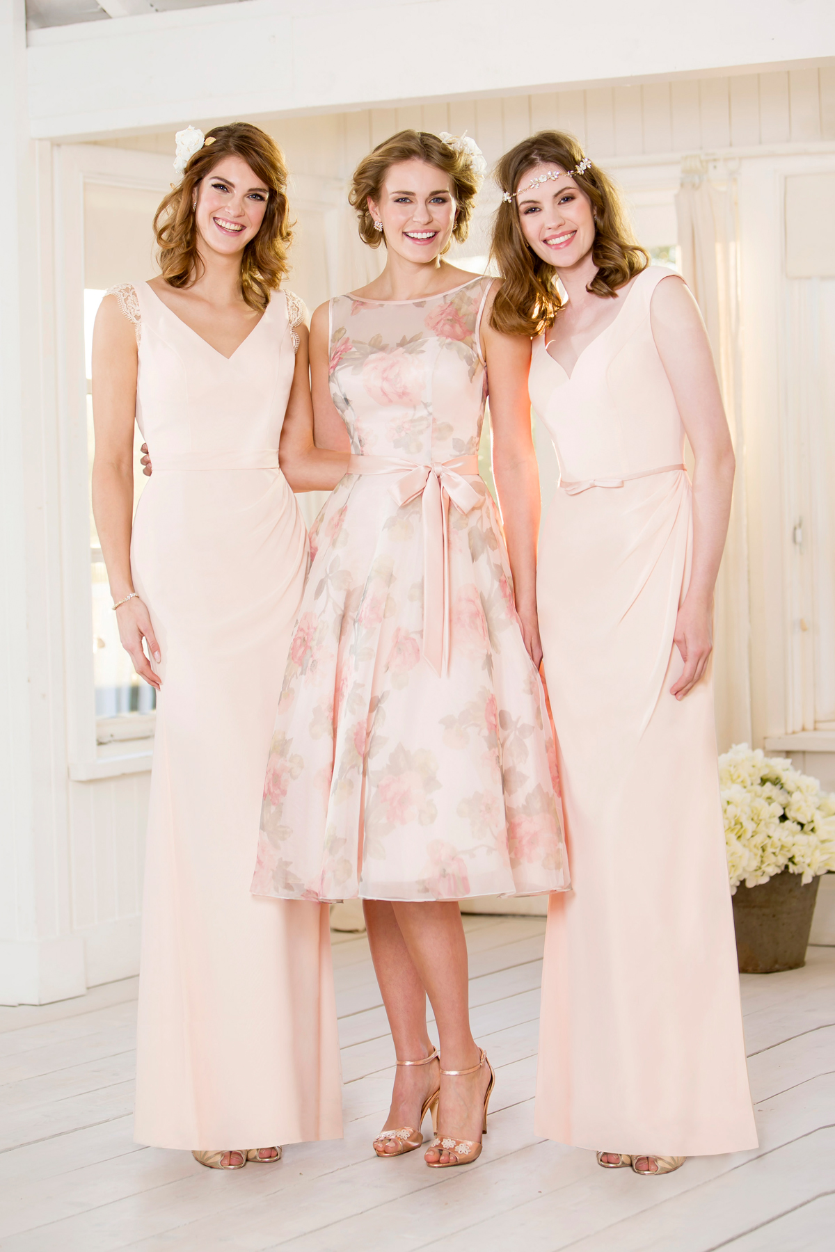 True bride figure flattering wedding dresses for brides pastel pink and floral bridesmaids dresses from true bride ombrellifo Gallery