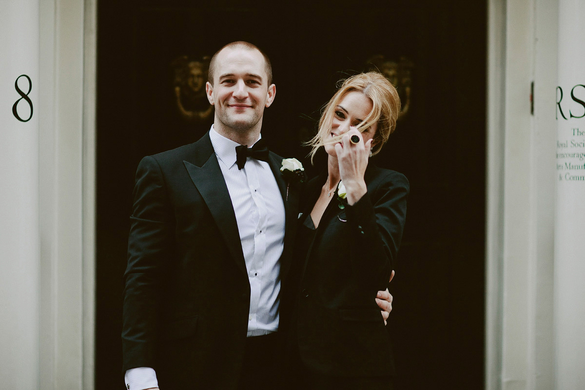 A Long-Sleeved Suzanne Neville Gown For A Black Tie Winter Wedding In London (Weddings )
